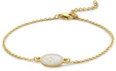 CO88 Collection Majestic 8CB 90562 Stalen schakel armband - 1,5 mm - bedel ovaal wit emaille met hartjes - 19,5 cm - goudkleurig