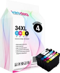 Blauwe Inktdag huismerk Epson 34 XL inktcartridge multipack, 4 pack (1* 34XL zwart, 1* 34XL cyaan, 1* 34XL magenta, 1* 34XL geel)