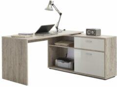 Zandkleurige FD Furniture Hoekbureau Gody - Zand eiken met hoogglans wit