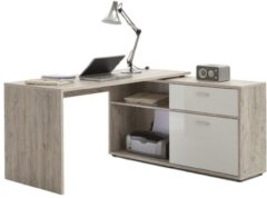 FD Furniture Hoekbureau Gody - Zand eiken met hoogglans wit