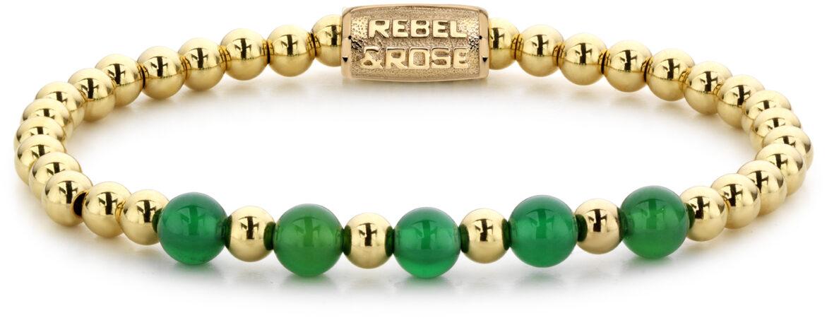 Afbeelding van Rebel & Rose Rebel and Rose RR-60062-G Rekarmband Beads Yellow Gold meets groen Harmony goudkleurig-groen 6 mm M 17,5 cm