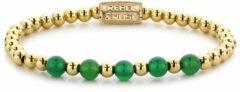 Rebel & Rose Rebel and Rose RR-60062-G Rekarmband Beads Yellow Gold meets groen Harmony goudkleurig-groen 6 mm M 17,5 cm