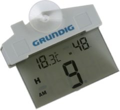 Grundig Digitale buiten thermometer wit 11 cm - Kunststof tuinthermometers - Tuin artikelen