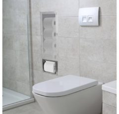 Roestvrijstalen Saqu Essential Built-in-Box reserve toiletrolhouder inbouw rvs