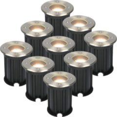 Roestvrijstalen HOFTRONIC 9x Maisy dimbare LED grondspot rond RVS 5W 2700K IP67 straal waterdicht 3 jaar garantie