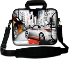 Grijze False Sleevy 15,6 laptoptas straatrace - laptophoes voorvak - laptop sleeve - smalle laptoptas - reistas - schoudertas - schooltas - heren dames tas - tas laptop