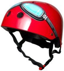 Kiddimoto - Rode Bril - Medium - Geschikt voor 4-10jarige of hoofdomtrek van 53 tot 58 cm - Skatehelm - Fietshelm - Kinderhelm - Stoere helm