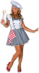 Witte Fashion4fun Eten & Drinken Kostuum | Lekker Potje Kokkin Restaurant | Vrouw | Maat 40 | Carnaval kostuum | Verkleedkleding