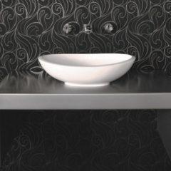 Crosstone by Arcqua Crosstone Perre opbouwwastafel 36x61.5x17cm 0 kraangaten ovaal Solid Surface wit mat CTWL-3010