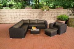 CLP Polyrattan Gartenlounge ARIANO inkl. Polsterauflagen Garten-Set: ein Ecksofa, ein Sessel, ein Hocker und ein Loungetisch In verschiedenen Farben