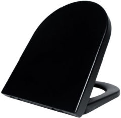 Wiesbaden Vesta toiletzitting met deksel met quickrelease en softclose mat zwart 32.3764