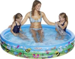 Merkloos / Sans marque Blauw/bloemen opblaasbaar zwembad 178 x 30 cm speelgoed - Familiezwembad - Rond zwembadje - Pierenbadje - Buitenspeelgoed voor kinderen