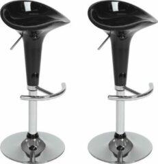 Zilveren TecTake barkruk - Set van 2 barkrukken barstoel kruk verstelbaar - 401563