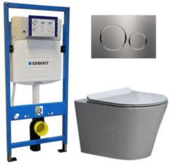 Douche Concurrent Geberit UP 320 Toiletset - Inbouw WC Hangtoilet Wandcloset - Saturna Flatline Sigma-20 RVS Geborsteld