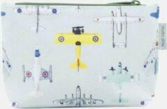 Lichtblauwe Pennenzak / Toilettasje Vliegtuigjes | Studio Ditte