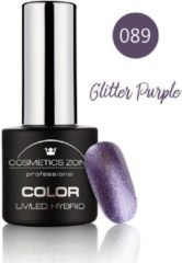 Paarse Cosmetics Zone UV/LED Hybrid Gel Nagellak 7ml. Glitter Purple 089