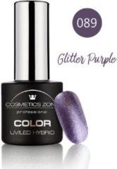 Paarse Cosmetics Zone UV/LED Hybrid Gel Nagellak 7ml. Glitter Purple 089