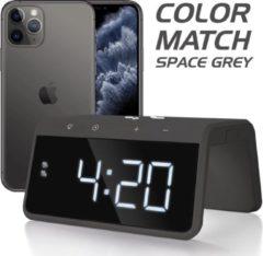 Grijze Caliber HCG019QI-SG - Wekker met draadloos laden - Space Grey / Graphite