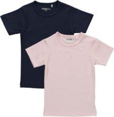 Dirkje Meisjes Shirts Korte Mouwen (2stuks) Lichtroze en Blauw - Maat 110