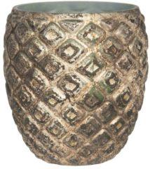 Waxinelichthouder - Ø 11*11 cm - koperkleurig - glas - rond - Clayre & Eef - 6GL2972