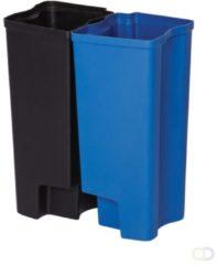 Recycling binnenbakken 2x45 ltr Front Step RVS Rubbermaid, zwart / blauw