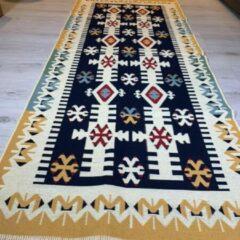 Sunar Home Kelim vloerkleed Kibyra -Kelim kleed - Kelim tapijt - Oosterse Vloerkleed - 80x300 cm - Loper - Bankkleed