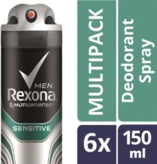 Rexona Men Sensitive Anti-transpirant Spray - 6 x 150 ml - Voordeelverpakking