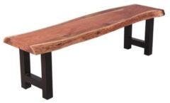 Bruine Livin24 Industriële eetkamerbank Timber acaciahout 160 cm