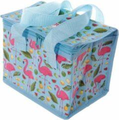 Merkloos / Sans marque Kleine koeltas flamingo print blauw 20,5 cm 4 liter - Koelboxen/koeltassen - Lunchtrommel/lunchtas