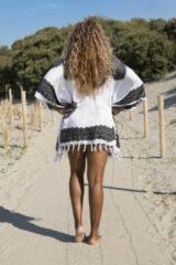 Strandjurk | One Size | Sarong-dress | Tuniek | Beach-dress | Sauna | Strandmode | Fashion | Wit | Zwart