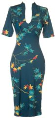 Donkerblauwe Pin-Up Couture Elizabeth Pencil Jurk met Bladeren Print Plus Size