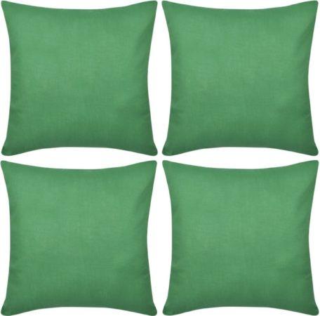 Afbeelding van VidaXL Kussenhoezen katoen 80 x 80 cm groen 4 stuks