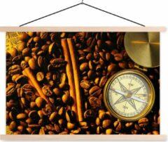 TextilePosters Kompasroos tussen koffiebonen en kaneelstokjes schoolplaat platte latten blank 150x100 cm - Foto print op textielposter (wanddecoratie woonkamer/slaapkamer)