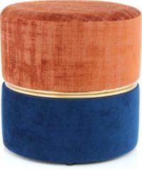 Design Hocker Fluweel Cleopatra Terra / Blauw - 40x40x40CMDefault