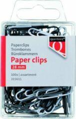 Quantore Paperclips 28 mm - 100 stuks grijs/wit/zwart