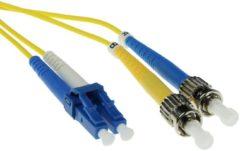 Gele ACT 2 meter LSZH Singlemode 9/125 OS2 glasvezel patchkabel duplex met LC en ST connectoren RL7902
