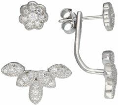Classics&More Lovenotes oorbellen - earjackets - zilver - gerodineerd - zirkonia - bloem