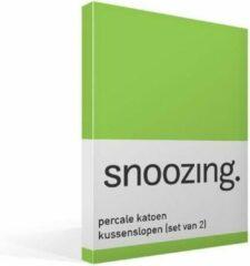 Snoozing Percale Katoen Kussenslopen (Set Van 2) - 100% Percale Katoen - 60x70 Cm - Standaardmaat - Lime