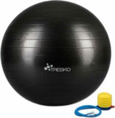Tresko Fitnessbal met pomp - diameter 75 cm - Zwart
