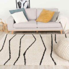 Creme witte Fraai Hoogpolig vloerkleed - Grand Wire Creme/Zwart 140x200cm