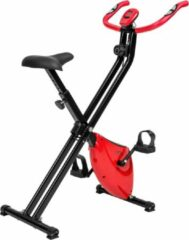 Zilveren TecTake hometrainer - X bike - licht & opvouwbaar met LCD display - 401715