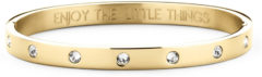 CO88 Collection Sparkle 8CB 90193 Stalen Bangle met Kristal en Tekst - Enjoy The Little Things - One-size (58x49x6 mm) - One-size - Goudkleurig