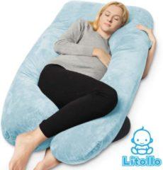 Litollo® Zwangerschapskussen XXL | Voedingskussen | Lichaamskussen| 280cm | Zachte fleece stof |Body pillow | Afneembare hoes |Luxe opbergtas | Blauw
