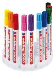 Rode Edding 4-3000-10 Permanent marker Geel, Oranje, Rood, Roze, Lila, Lichtblauw, Blauw, Groen, Bruin, Zwart Ronde vorm 1.5 - 3 mm 10 stuks