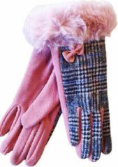 Roze ECgloves Handschoenen dames schotse ruit