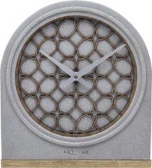 NeXtime Concrete Love Table - Klok - Stil Uurwerk - Hout/Polystone - Halfrond - 24,5 cm - Grijs / Bruin