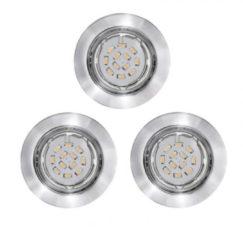 EGLO Peneto - Inbouwspotje - LED - Ø87mm. - Chroom - Set 3 Spots - Richtbaar