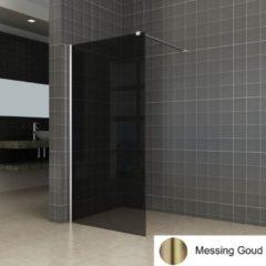 Boss & Wessing BWS Inloopdouche Pro Line Rookglas 100x200 Nano Coating Geborsteld Messing Goud Profiel en Stang