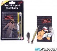 Zwarte Johntoy Secret Agent notitieblok met geheime pen 2 assorti