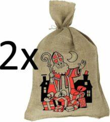 Bruine Sinterklaaszak - Jute zak - Jutezak 80x50 cm - 2 stuks